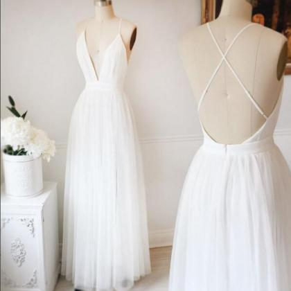 Beautiful White Prom Dress,A Line S..