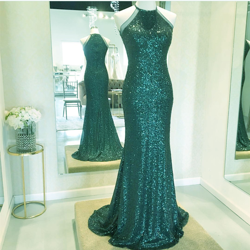 Halter Prom Dress Mermaid Y Long Evening Gowns Emerald Green Bridesmaid Sequins Dresses