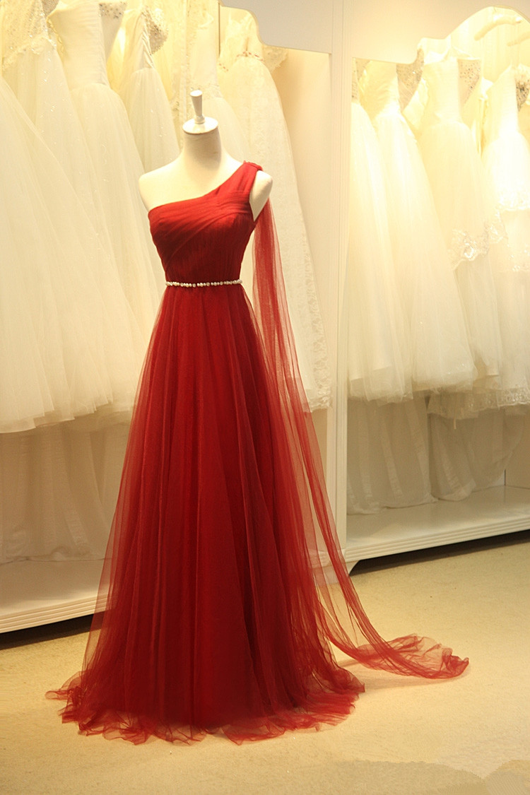 03c0c603264e Pretty Tulle One Shoulder Wine Red Long Simple Prom Dresses