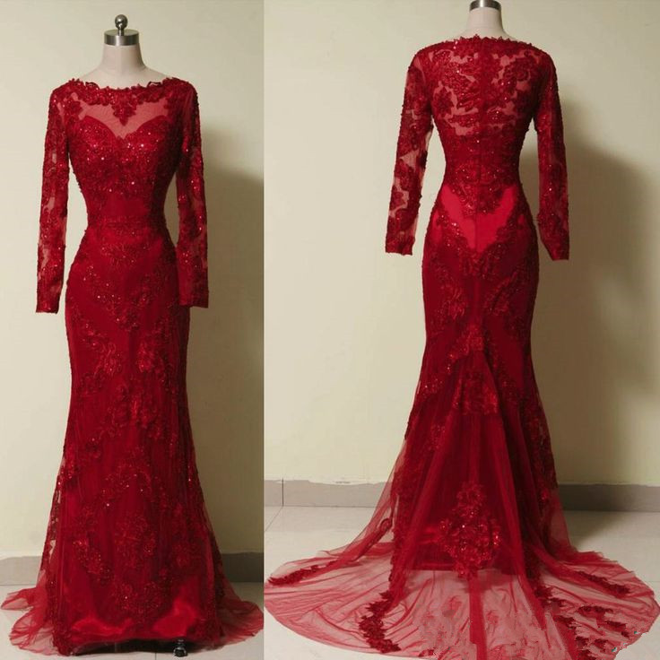 Prom Dressesevening Dressred Prom Dresses Wine Red Lace Applique