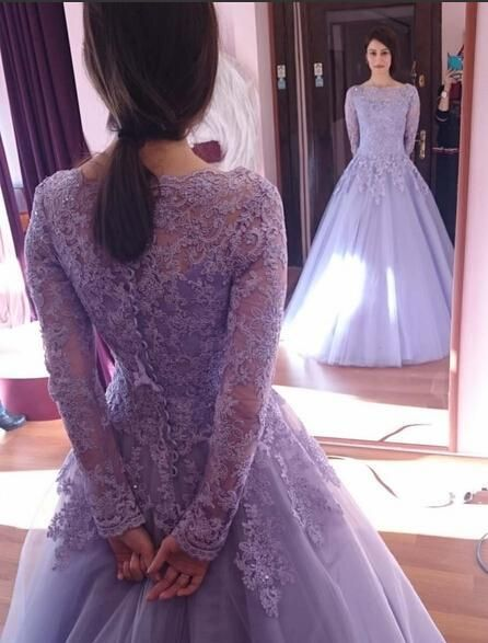 Modest Lilac Long-sleeved Prom Dress,Prom Ball Gowns,Lace Prom Dress ...