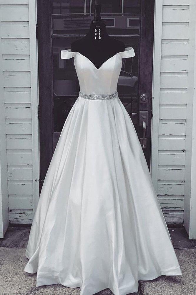Charming White Off Shoulder Long Prom Dress, Simple Satin Prom Dress ...