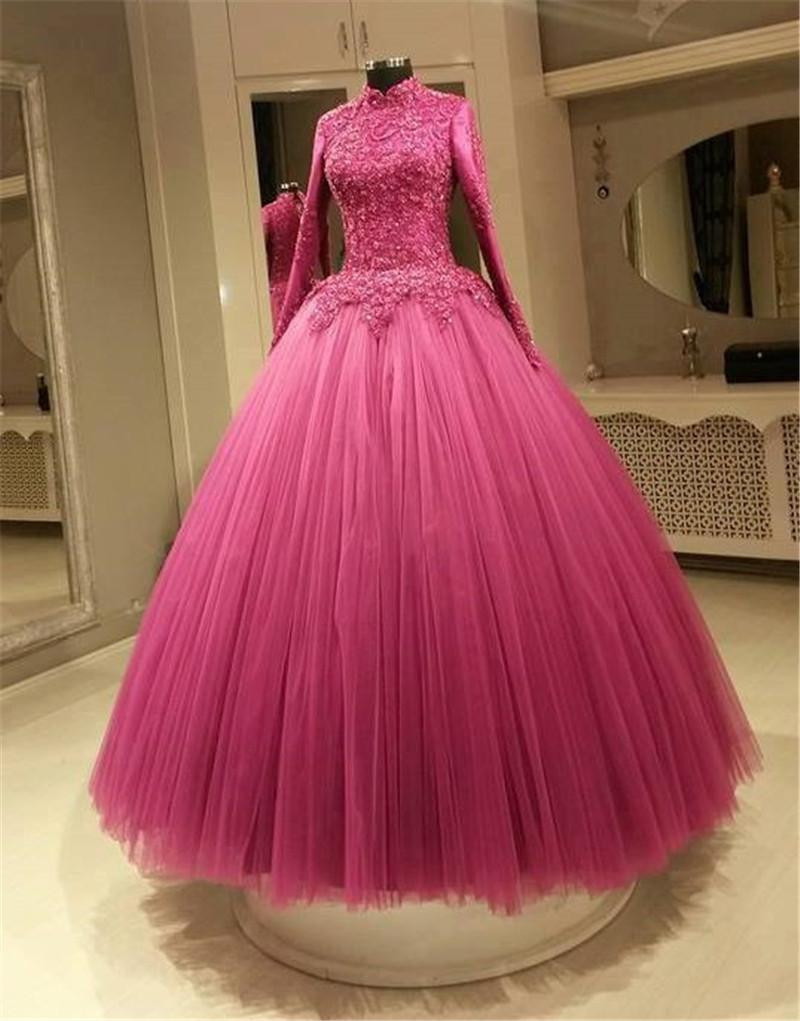 Muslim fuchsia color wedding dresses a line high neck long sleeves muslim fuchsia color wedding dresses a line high neck long sleeves applique lace plus size bridal gowns real picture ombrellifo Choice Image