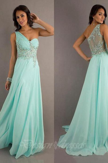 Custom Made One Shoulder A-Line Chiffon Dresses Crystal Beaded Prom Lace Dresses ,Mermaid Prom Dress, Evening Gowns Bridesmaid Dresses, Cheap Prom Dresses 2015 Prom Dress