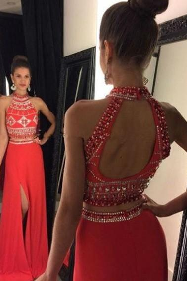 Elegant High Neck Beading Split Red Long Two-pieces Prom Dresses