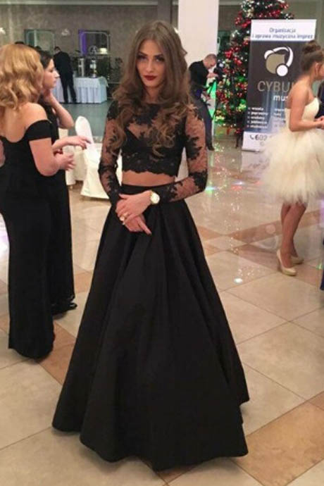 Fashion Two Piece A-line Floor-Length Lace Long Sleeves Black Prom Dress
