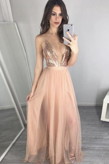 Sexy Pearl Pink Prom Dress - Deep V Neck Illusion Floor Length with Sequins Split