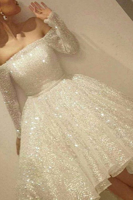 Sparkly Homecoming Dress - Off Shoulder Long Sleeves Hi-Low White Sequins with Sash