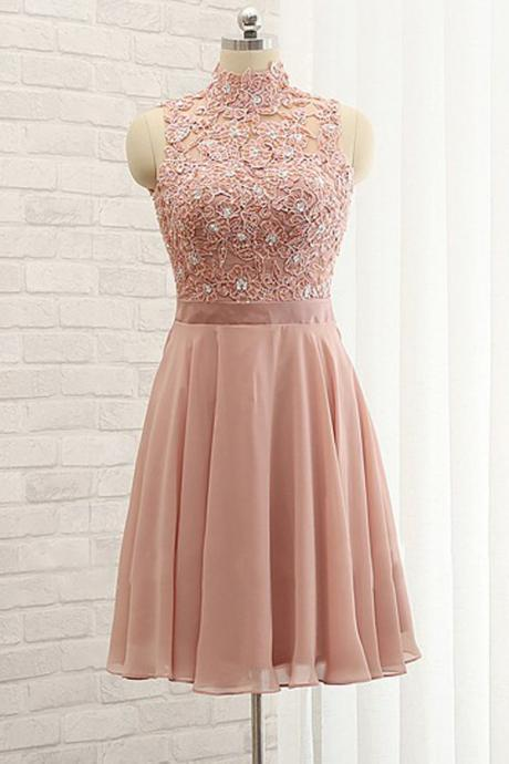 Stylish A-Line High Neck Sleeveless Open Back Short Homecoming Dress With Lace