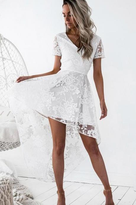 Fashion A-Line V-Neck Short Sleeves Criss Cross White Lace High Low Homecoming Dress