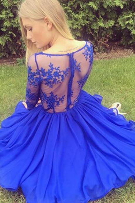 Fashion A-Line V-Neck Long Sleeves Royal Blue Short Homecoming Dress With Lace