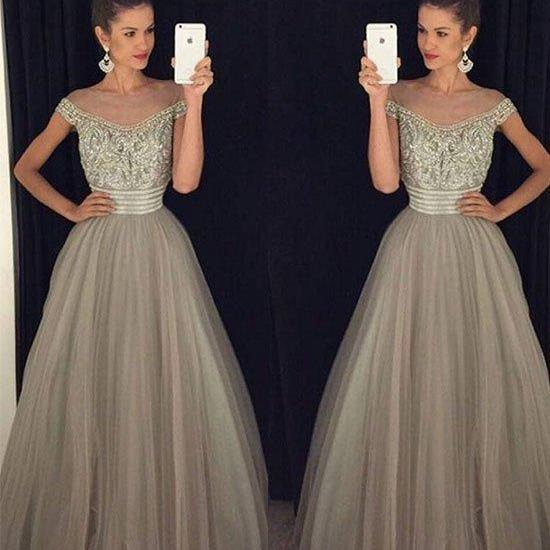 Charming Off Shoulder Grey Tulle Prom Dress,A Line Evening Dress,2017 Beaded Prom Dresses
